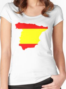 Spain Flag and Map Women's Fitted Scoop T-Shirt