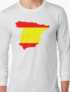 Spain Flag and Map Long Sleeve T-Shirt