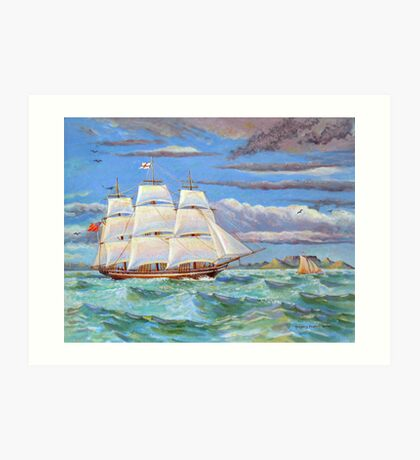 Sailing ship in Table Bay off Cape Town, South Africa Art Print