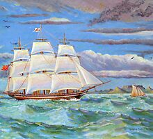 Sailing ship in Table Bay off Cape Town, South Africa by Gregory Pastoll