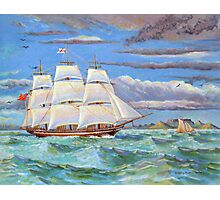 Sailing ship in Table Bay off Cape Town, South Africa Photographic Print