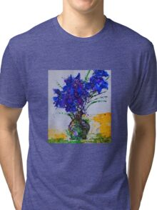 Floral - silk paint on Japanese Yupo  Tri-blend T-Shirt