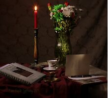 Red Candle and Christmas Cards Photographic Print