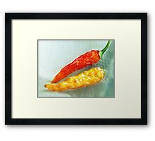 Red & Yellow Chilis Framed Print