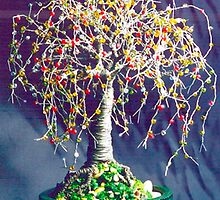 MULTI COLOR OAK - Beaded  Wire Tree Sculpture, by Sal Villano  by Sal Villano