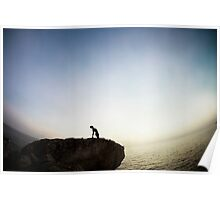 Yoga 7 over a rock by the beach, Mallorca Poster