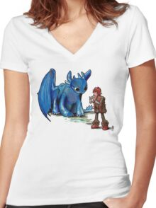 How To Train Your Dragon 'Toothless'  By EmegE  Women's Fitted V-Neck T-Shirt