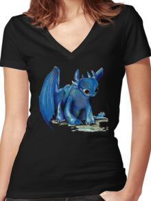 How To Train Your Dragon 'Toothless' by EmegE (Edited) Women's Fitted V-Neck T-Shirt