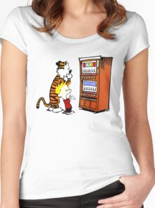 Calvin Hobbes Vending Machine Women's Fitted Scoop T-Shirt