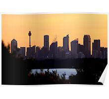 north head manly - city behind the ocean Poster