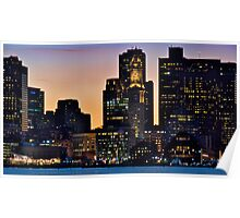 Boston City Skyline at Dusk *featured Poster