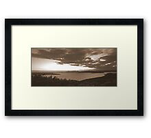 north head manly - sepia sunset Framed Print