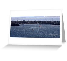 north head manly - sailing in sea of diamonds Greeting Card