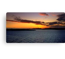north head manly - sunset in the distance Canvas Print