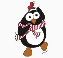 Funny Christmas penguin dancing in the Antarctic.  by graphicdoodles