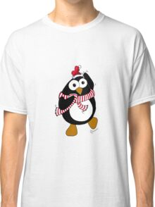 Funny Christmas penguin dancing in the Antarctic.  Classic T-Shirt