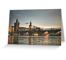 Sunset on Charles Bridge in Prague Greeting Card