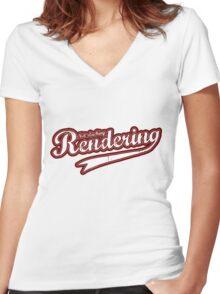 Not slacking, Rendering Women's Fitted V-Neck T-Shirt