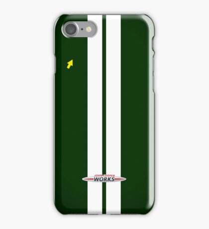 Mini Cooper Strips - British Racing Green iPhone Case/Skin