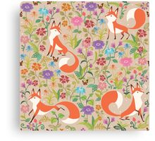 Flower Foxes Canvas Print