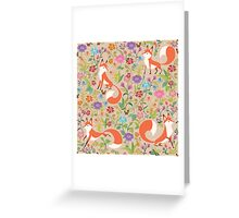 Flower Foxes Greeting Card