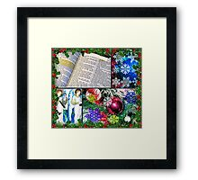 Fancy Christmas Collage in Holly Frame Framed Print