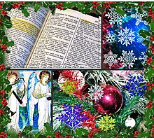 Fancy Christmas Collage in Holly Frame Photographic Print