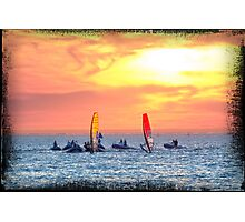 Sailboarders at sunset Photographic Print