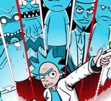 Rick Sanchez Vs The Multiverse Scott Pilgrim parody Sticker