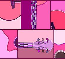 Modern Pop Art Guitar in Pinks and Purples by ArtformDesigns