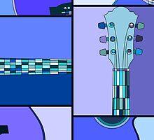 Modern Pop Art Acoustic Guitar in Blues by ArtformDesigns
