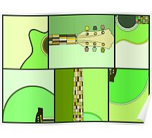 Modern Pop Art Acoustic Guitar in Greens Poster