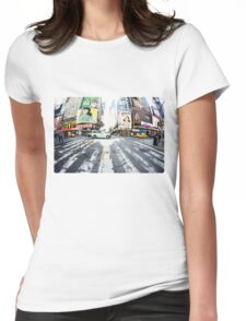 Yoga in Times Square, New York Womens Fitted T-Shirt