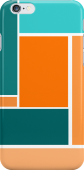 Bold, Geometric Design in Greens and Orange by ArtformDesigns