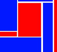 Bold Abstract Block in Red, White and Blue by ArtformDesigns