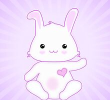 Cute Purple and Lilac Kawaii Bunny Rabbit by ArtformDesigns