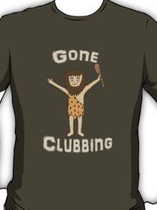 Gone Clubbing Funny Caveman Cartoon Design T-Shirt
