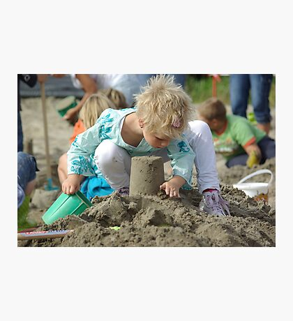 child playing with sand Photographic Print