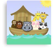 Noah's Ark with Cute Cartoon Animals Canvas Print