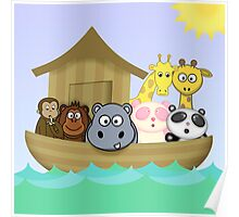 Noah's Ark with Cute Cartoon Animals Poster