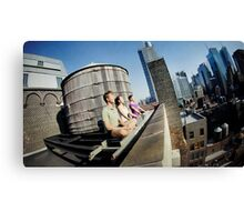 Yoga meditation in a rooftop, New York Canvas Print