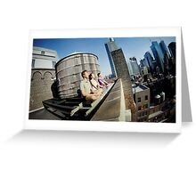 Yoga meditation in a rooftop, New York Greeting Card