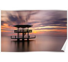 Curacao Sunset Pontoon Seascape Long Exposure Poster