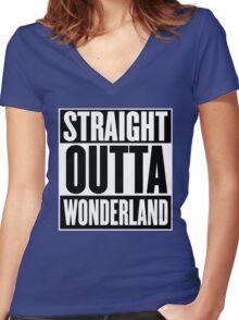 Straight Outta Wonderland T Shirt Women's Fitted V-Neck T-Shirt