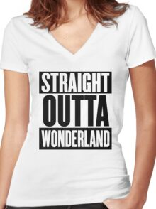 Straight Outta Wonderland T Shirt Women's Fitted V-Neck T-Shirt