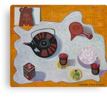 Still Life with the Black Tea Pot and an Old Chinese Mask Canvas Print