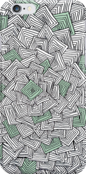 Zentangle Squares Green iPhone Case by Hilda Rytteke