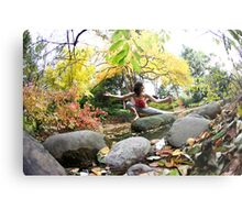 Yoga by the river Metal Print