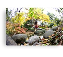 Yoga by the river Canvas Print