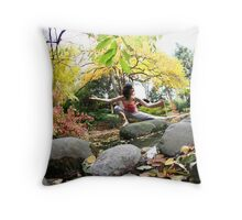 Yoga by the river Throw Pillow